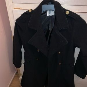 Copper key peacoat with gold buttons for girls